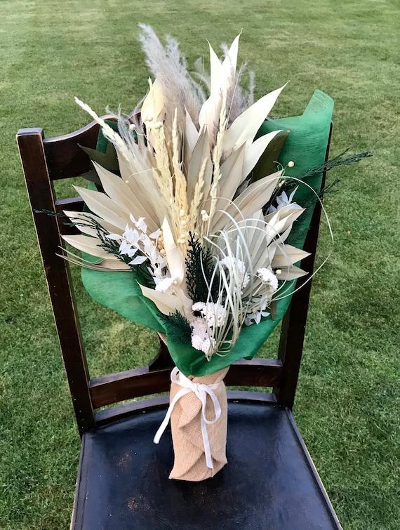 Winter Dried Flower Bouquet - Dried Flower Vase Arrangement - Wrapped Dried Floral Bouquet