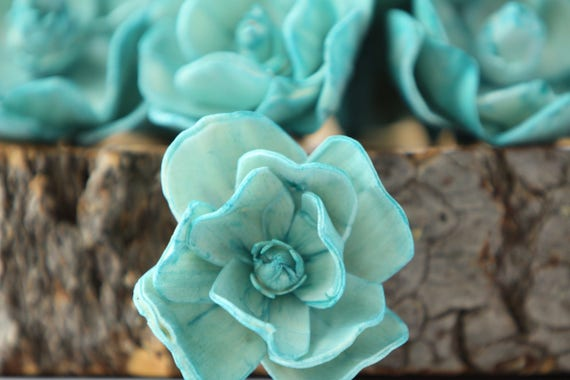 Teal Sola Magnolia Flowers- SET OF 10 , Teal Sola Flowers, Teal Wood Sola Flowers, Magnolia Sola, Balsa Wood Flowers, Teal Flowers