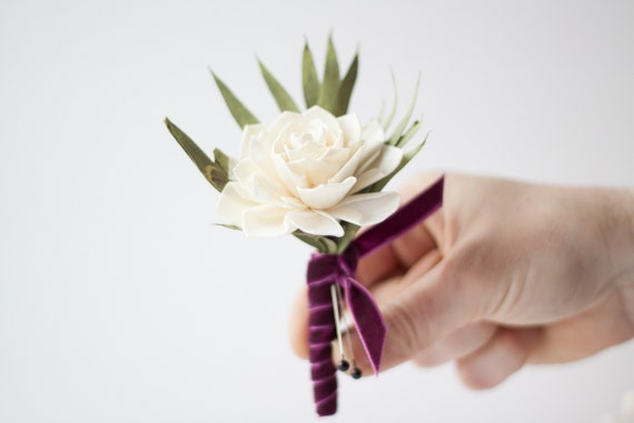 Crushed Velvet Boutonierre , Keepsake Wood Sola Flower Pin On Boutonniere
