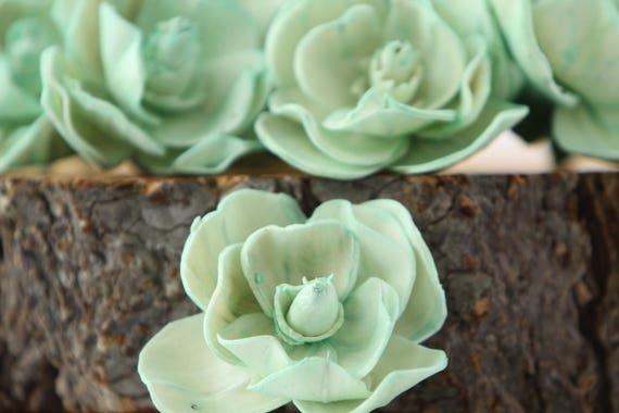Mint Sola Magnolia Flowers- SET OF 10 , Mint Sola Flowers, Mint Wood Sola Flowers, Magnolia Sola, Balsa Wood Flowers, Mint Flowers