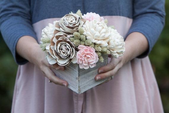 Rustic Spring Keepsake Sola Flower Arrangement - Ships FREE, Sola Flower Arrangement, Floral Centerpiece, Spring Centerpiece