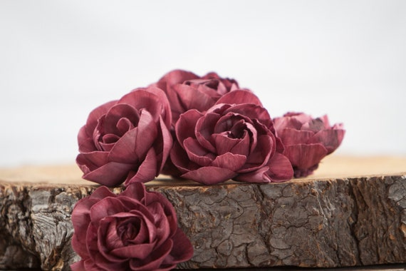 Burgundy Peony Sola Flowers - Set of 5