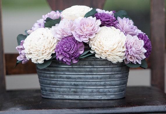 Purple Oval Sola Flower Arrangement - Rustic Balsa Wood Flower Centerpiece