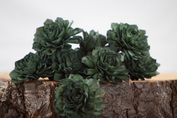 Dark Green Dahlia Sola Flowers - Set of 10