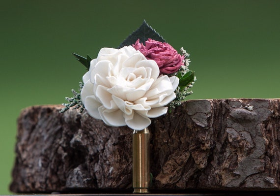 Burgundy and Ivory Bullet Casing Boutonniere - Bullet Shell Boutonniere