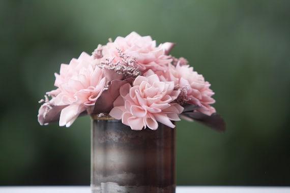 Blush Pink and Rose Gold Sola Flower Arrangement - Keepsake Flowers