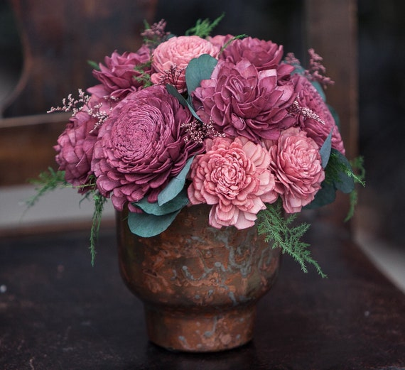 Burgundy and Mauve Pink Sola Flower Metal Centerpiece