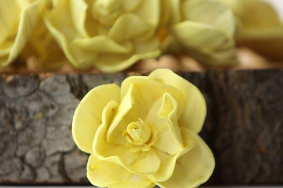Lemon Yellow Sola Magnolia Flowers- SET OF 10