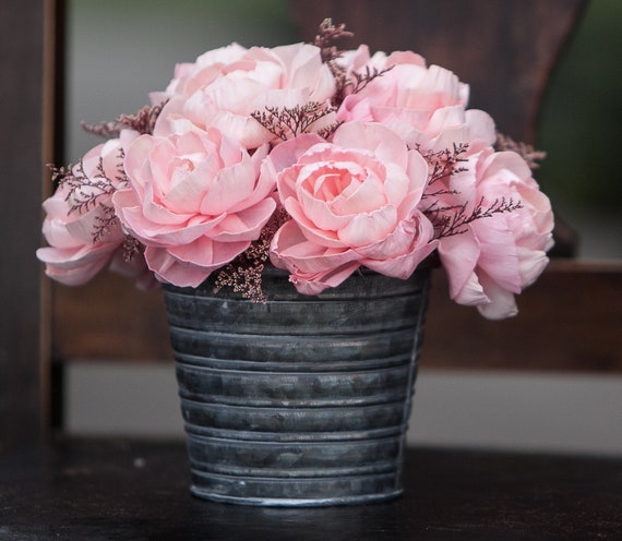 Pink Peony Tin Floral Arrangement - Keepsake Flowers