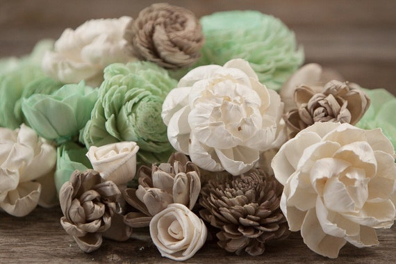 Mint and Tan Sola Wood Flowers - Available in sets of 45 and 100