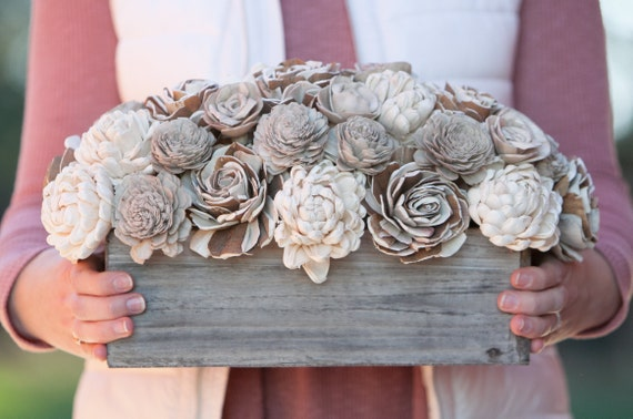 Neutral Rectangular Sola Flower Arrangement - Rustic Balsa Wood Flower Centerpiece