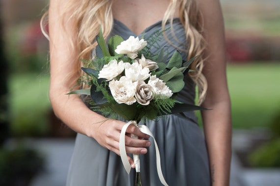 Ivory and Tan Sola Flower Boho Bridesmaid Bouquet -Keepsake Bridesmaid Bouquet