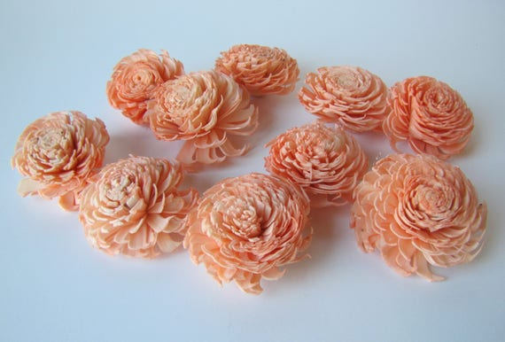 Peach Chorki Sola Flowers - SET OF 10 , Peach Chorki, Sola, Wood Sola Flowers, Chorki Sola, Balsa Wood Flowers, Wedding DIY, Craft Flower
