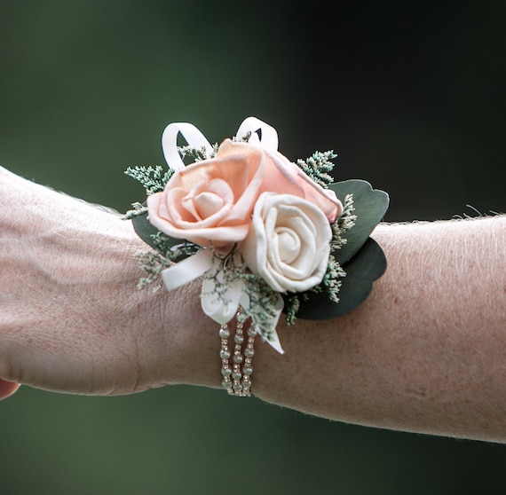 Woman's Pearl and Rose Gold Rhinestone Sola Flower Wrist Corsage - Keepsake Wrist Corsage