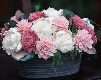 Pink Oval Sola Flower Arrangement - Rustic Balsa Wood Flower Centerpiece
