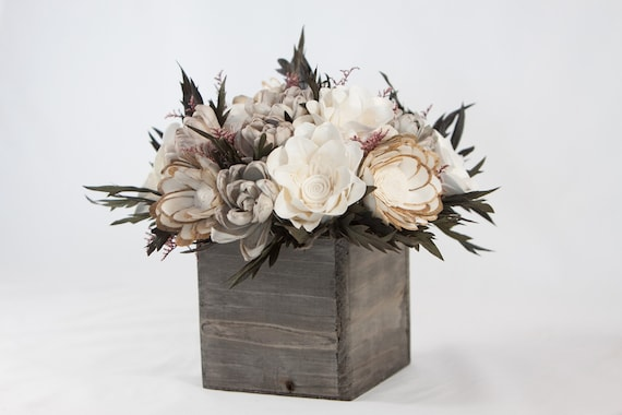 Neutral Fall Square Keepsake Sola Flower Arrangement - Ships FREE, Sola Flower Arrangement, Flower Centerpiece, Fall Floral Centerpiece