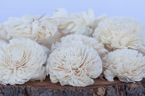 Large Chorki Sola Flowers - SET OF 10 , Wood Chorki Sola Flowers, Balsa Wood Flowers