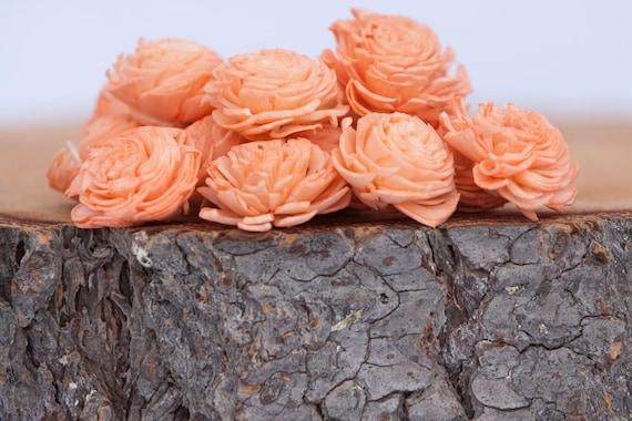 Coral Mini Chorki Flowers - Set of 15 , coral mini chorki sola flowers, sola flowers, balsa wood flowers, balsa wood sola flowers