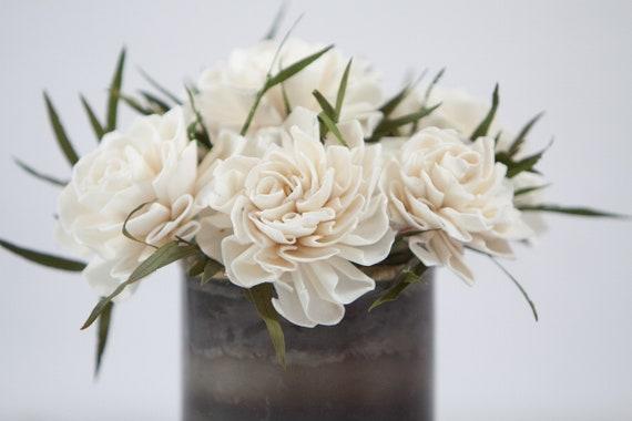 Dahlia Sola Flower Arrangement - Keepsake Sola Flower Arrangement - Ivory Sola Flower Arrangemet - Keepsake Centerpiece - Home Decor Flowers