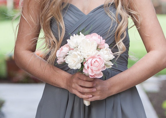 Small Classic Blush Pink and Ivory Bridesmaid Bouquet - Junior Bridesmaid Bouquet