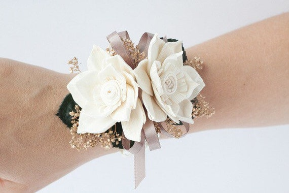 Delphinium Sola Flower Wrist Corsage - Keepsake Wrist Corsage - Prom Corsage - Mother's Corsage
