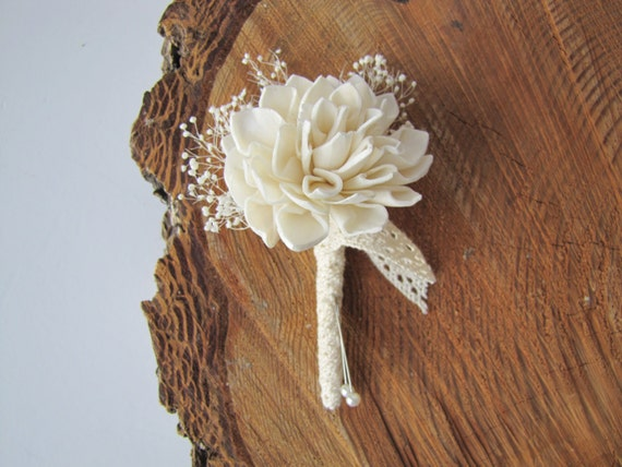 Dahlia and Lace Boutonniere -Wood Fola flower boutonniere -Vintage Boho Pin On Boutonniere