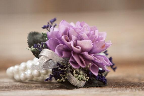 Woman's Lavender Dahlia Wristlet Corsage, Prom Corsage, Mother's Corsage