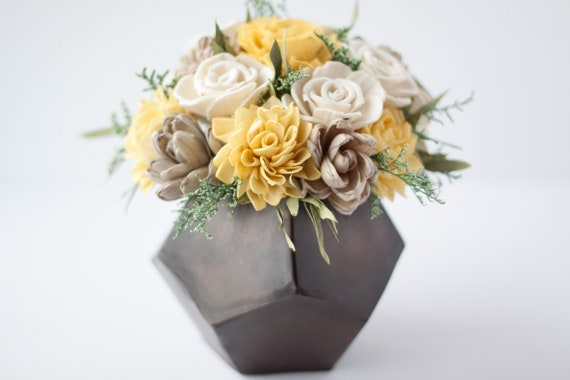 Mustard Yellow Keepsake Sola Flower Arrangement - Ships FREE, Sola Flower Arrangement, Flower Centerpiece, Floral Centerpiece