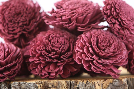 Aubergine Large Chorki Sola Flowers - Set of 10, Burgundy Sola Flowers, Chorki Sola Flowers, Sola Flower, Wood Sola Flowers, Wine solas