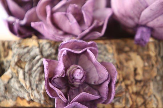 Purple Sola Magnolia Flowers- SET OF 10 , Purple Sola Flowers,  Blush Wood Sola Flowers, Magnolia Sola, Balsa Wood Flowers, Purple Flowers