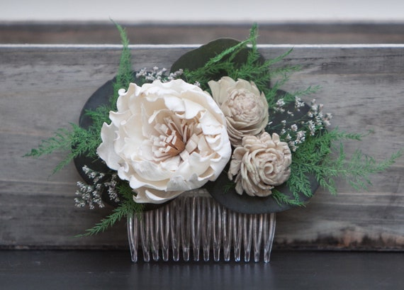 Rustic Sola Flower Hair Comb
