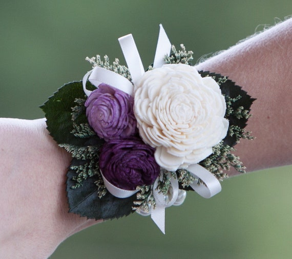 Woman's Purple and Ivory Beaded Wristlet Corsage
