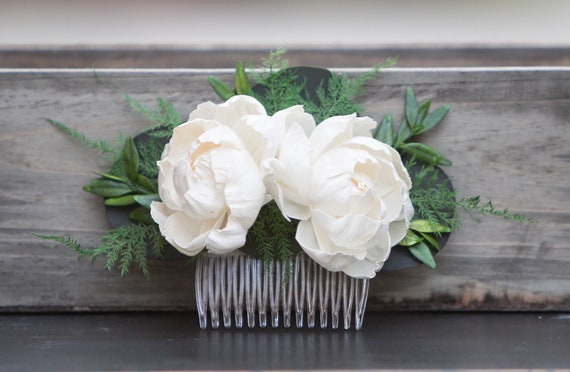 Ivory Peony Floral Hair Comb