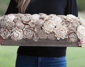 Long Neutral Rectangular Sola Flower Centerpiece