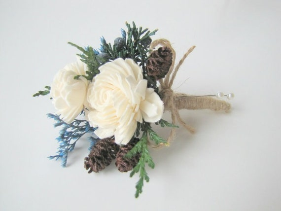 Blue Winter Corsage - Rustic Corsage - Pin on Corsage- Pinecone Corsage - Corsage - Wedding Corsage - Mothers Corsage - Winter Corsage