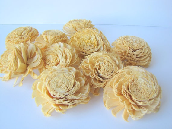 Mustard Yellow Large Chorki Sola Flowers - Set of 10, Sola Flowers, Chorki Sola Flowers, Sola Flower, Mustard Yellow Wood Sola Flowers