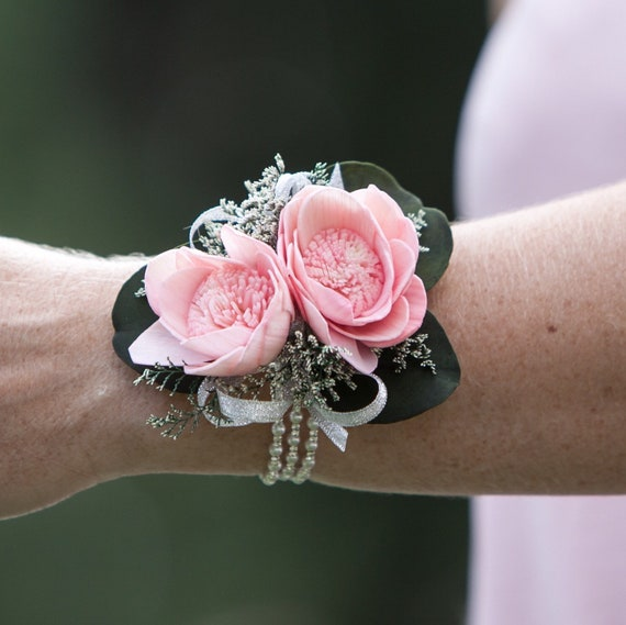 Woman's Pearl and Silver Rhinestone Sola Flower Wrist Corsage - Keepsake Wrist Corsage