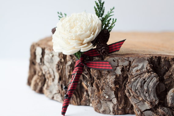 Rustic Ivory and Brown Pine Cone Pin On Boutonniere - Lumberjack Theme Boutonniere - Rustic Wedding Boutonniere