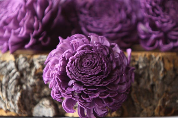 Purple Large Chorki Sola Flowers - Set of 10,  Balsa Wood Sola Craft Flowers, Keepsake flowers