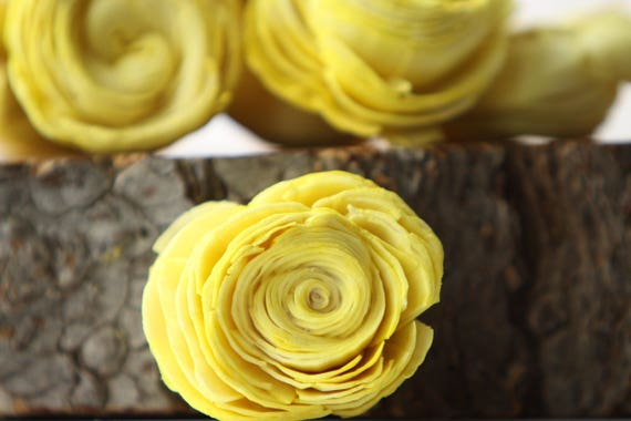 Lemon Yellow Sola Shell Flowers - SET OF 10 , Lemon Yellow Sola Flowers, Wood Sola Flowers, Balsa Wood Flowers, Wedding DIY, Craft Flowers
