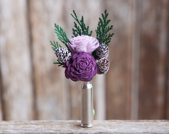 Pinecone Bullet Casing Boutonniere - Bullet Shell Boutonniere