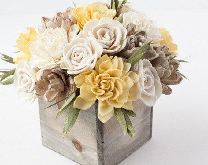 Mustard Yellow Square Keepsake Sola Flower Arrangement - Ships FREE, Sola Flower Arrangement, Flower Centerpiece, Floral Centerpiece