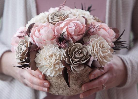 Pink Birch Bark Arrangement - Pink and Ivory Flower Centerpiece