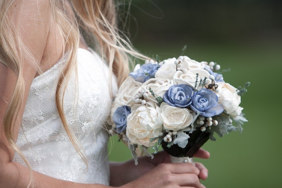 Small Steele Blue and Grey Bridal Bouquet