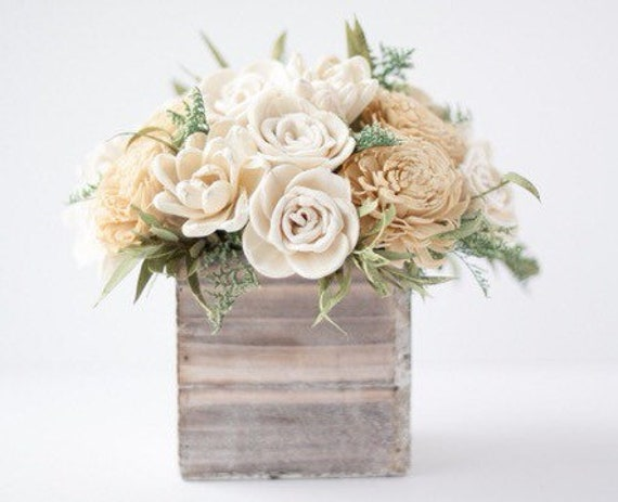 Neutral Keepsake Sola Flower Arrangement - Rustic Floral Arrangement - Cute Floral Arrangement