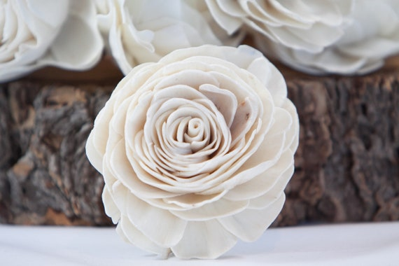 Large Gardenia Sola Flowers - SET OF 10 , Sola Flowers, Wood Sola Flowers, Balsa Wood Flowers