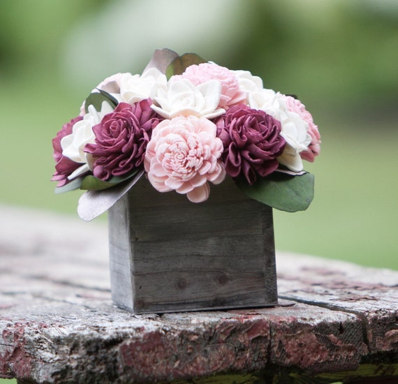 Pink, Burgundy and Rose Gold Sola Flower Arrangement
