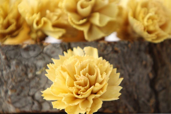 Lemon Yellow Carnation Sola Flowers - SET OF 10 , Sola Flowers, Wood Sola Flowers, Carnation Sola, Balsa Wood Flowers, Craft Flowers