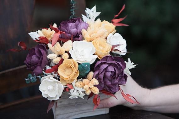 Boho Feel Fall Keepsake Sola Flower Arrangement - Autumn Floral Centerpiece