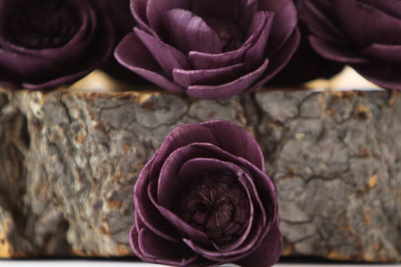 Eggplant Camellia Sola Flowers- SET OF 10 , Sola Flowers, Dark Purple Wood Sola Flowers, Camelia Sola, Wedding DIY,  Crafting Flowers, Solas